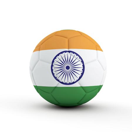 India flag soccer football against a plain white background. 3D Rendering