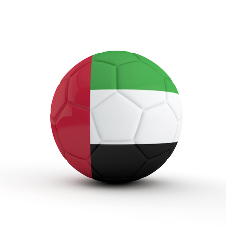 UAE flag soccer football against a plain white background. 3D Rendering