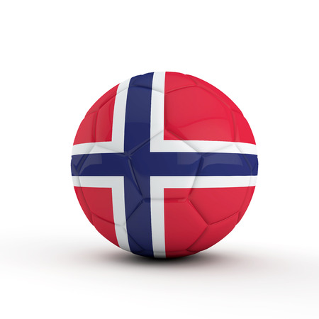 Norway flag soccer football against a plain white background. 3D Rendering Stock Photo