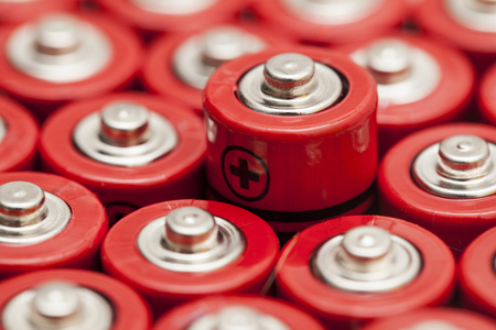 Batteries background. Energy supply and recycling concept Stock Photo