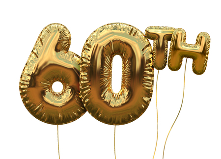 Gold number 60 foil birthday balloon isolated on white. Golden party celebration. 3D Rendering Banque d'images