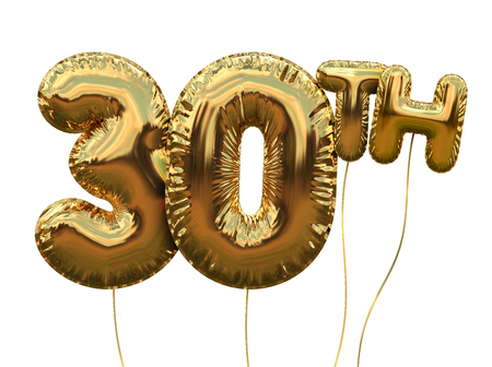 Gold number 30 foil birthday balloon isolated on white. Golden party celebration. 3D Rendering