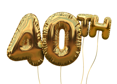 Gold number 40 foil birthday balloon isolated on white. Golden party celebration. 3D Rendering Archivio Fotografico