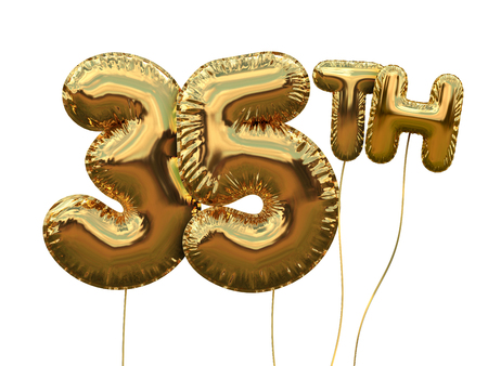 Gold number 35 foil birthday balloon isolated on white. Golden party celebration. 3D Rendering Stock Photo