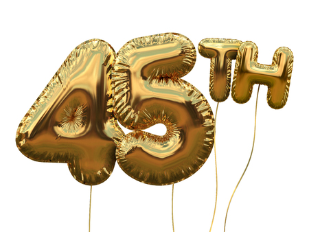 Gold number 45 foil birthday balloon isolated on white. Golden party celebration. 3D Rendering
