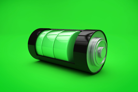 Battery charging with coloured indicator. 3D Rendering