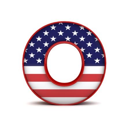 Letter O stars and stripes american flag lettering font. 3D Rendering