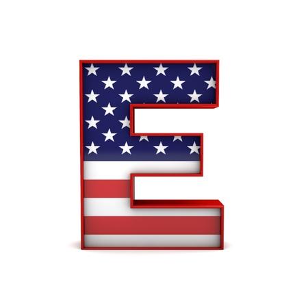Letter E stars and stripes american flag lettering font. 3D Rendering