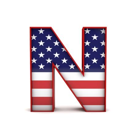 Letter N stars and stripes american flag lettering font. 3D Rendering Banque d'images