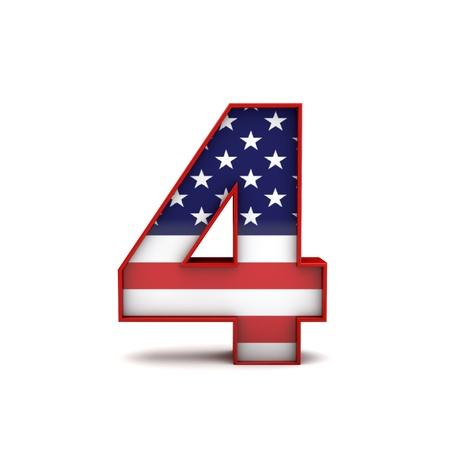 번호 4 개 및 미국 국기 글자 글꼴 줄무늬. 3D 렌더링