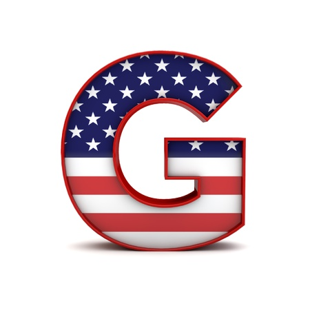 Letter G stars and stripes american flag lettering font. 3D Rendering 스톡 콘텐츠