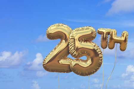 Gold number 25 foil birthday balloon against a bright blue summer sky. Golden party celebration. 3D Rendering