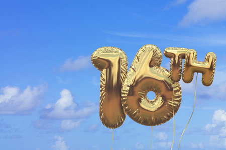 Gold number 16 foil birthday balloon against a bright blue summer sky. Golden party celebration. 3D Rendering Stock Photo