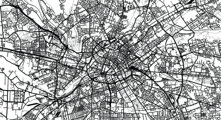 Urban vector city map of Manchester, England