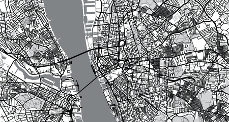 Urban vector city map of Liverpool, England