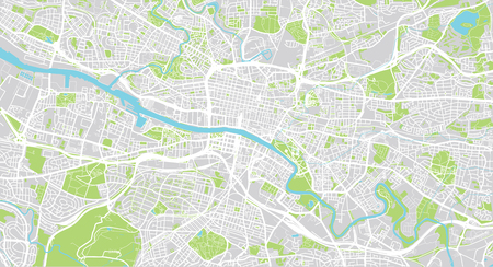 Urban vector city map of Glasgow, Scotland Stock Photo
