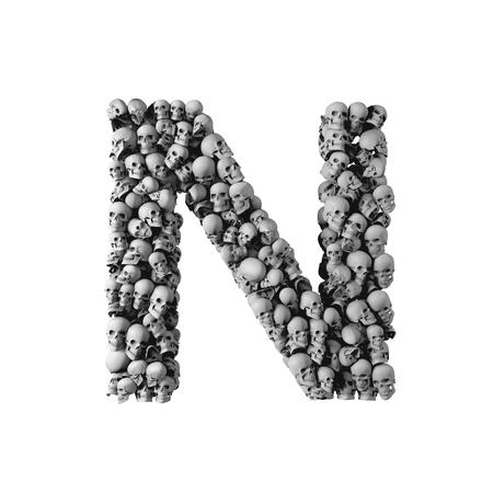 Skull font letter N. Letter made from lots of skulls. 3D Rendering
