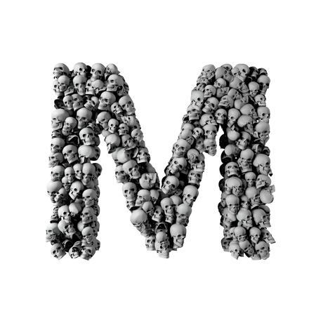 Skull font letter M. Letter made from lots of skulls. 3D Rendering  Reklamní fotografie
