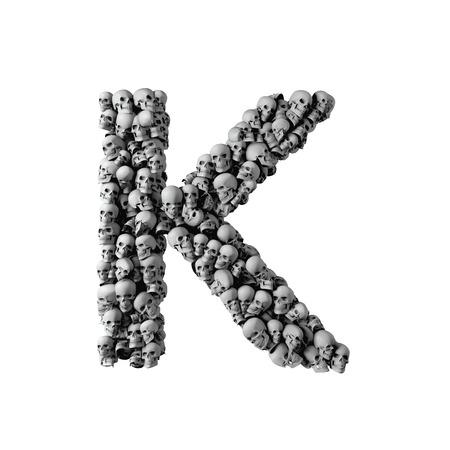 Skull font letter K. Letter made from lots of skulls. 3D Rendering