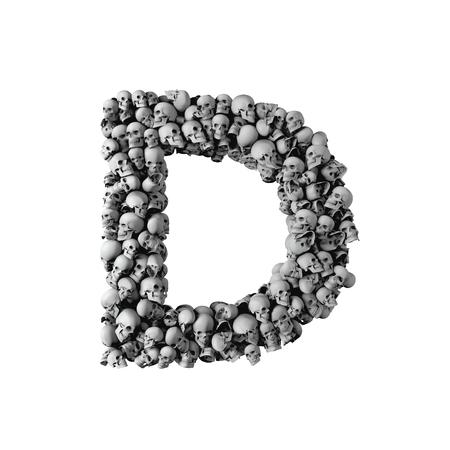 Lettre de police de crâne D. Lettre faite de beaucoup de crânes. Rendu 3D Banque d'images - 93487849