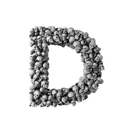 Skull font letter D. Letter made from lots of skulls. 3D Rendering