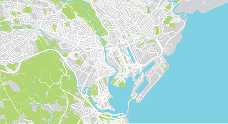 Urban vector city map of Cardiff, Wales Stock Photo