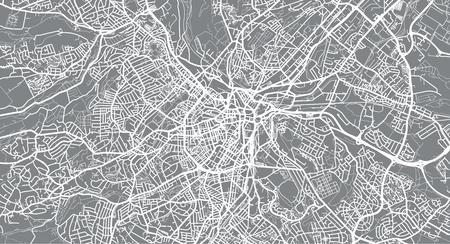 Stedelijke vector plattegrond van de stad van Sheffield, Engeland Stock Illustratie