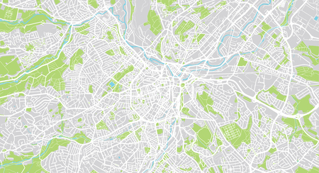 Urban vector city map of Sheffield, England