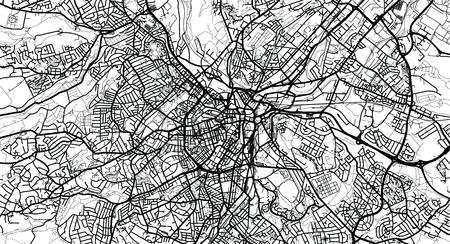 Urban vector city map of Sheffield, England