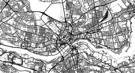Urban vector city map of Newcastle, England