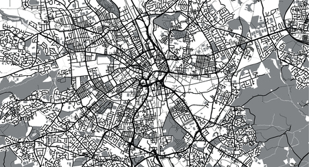 Urban vector city map of Bradford, England Stock Photo