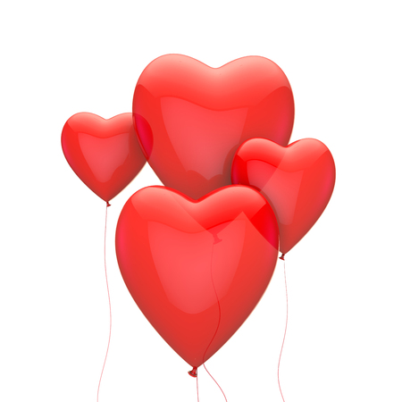 Red heart valentines love balloons. 3D rendering