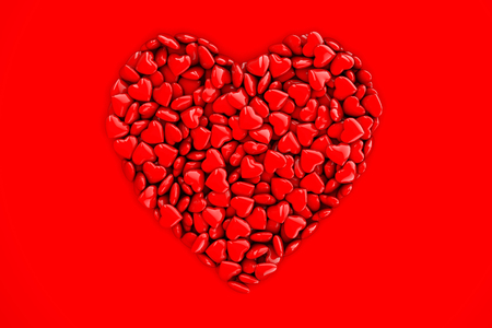 Collection of red love hearts forming a heart shape background Stock Photo