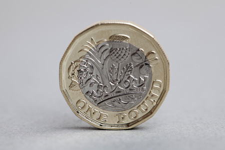 British sterling one pound coin currency