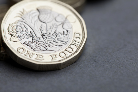 British sterling one pound coin currency 写真素材