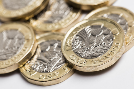 British sterling one pound coin currency Stockfoto