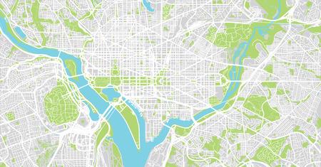 Stedelijke vector plattegrond van de stad van Washington DC, Verenigde Staten