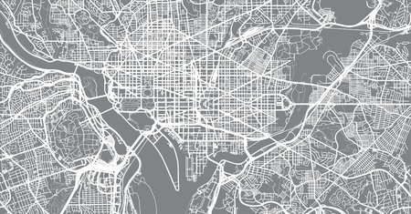 Urban vector city map of Washington D.C, USA