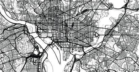 Urban vector city map of Washington D.C, USA.