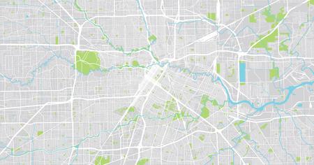 Urban vector city map of Houston, Texas, USA