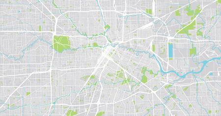 Stedelijke vector plattegrond van de stad van Houston, Texas, Verenigde Staten Vector Illustratie