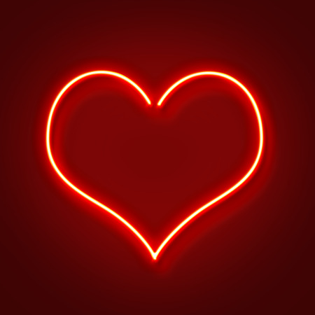 Red neon glowing heart shape, Valentines day background Stock Photo