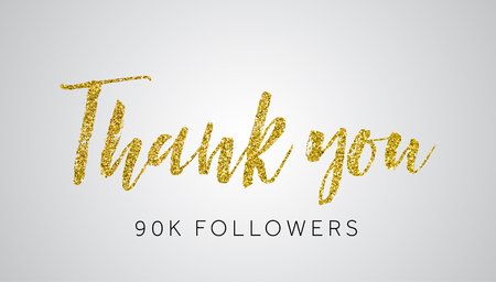 Thank you 90 thousand followers gold glitter social media banner