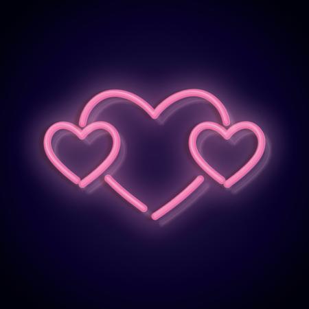 Pink neon valentines love heart