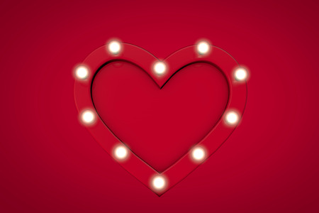 Red love heart shape with glowing lightbulbs around the edge. 3D Rendering