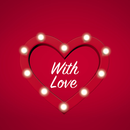 Red love heart shape with romantic message. 3D Rendering Stock Photo