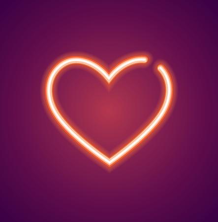Neon love heart sign Vector illustration.