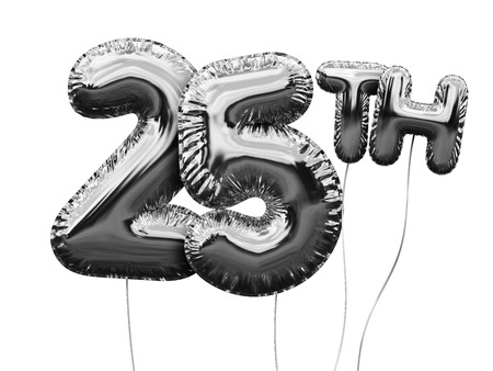 Gold number 25 foil birthday balloon isolated on white. Golden party celebration. 3D Rendering