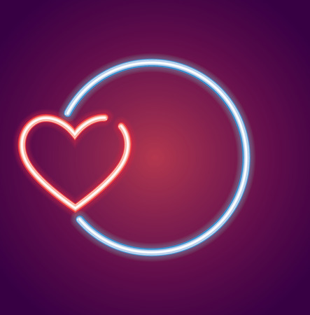 Neon valentines heart shape