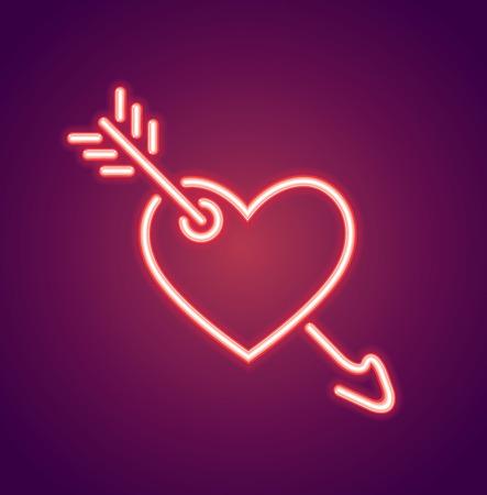 Neon valentines heart and arrow shape Stock Photo